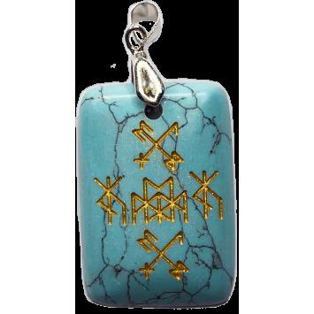 Кулон-амулет для денег и подарков Золотой крест бирюза