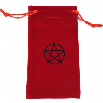 Мешочек из бархата для карт таро или рун с пентаграммой, красный