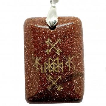 Кулон-амулет для денег и подарков Золотой крест коричневый песчанник