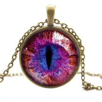 Оберег защитный кошачий глаз красно-фиолетовый