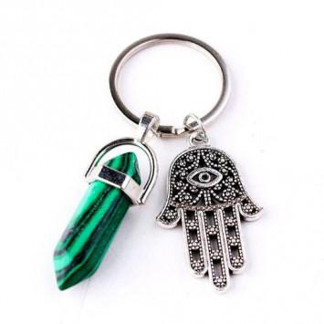 Брелок для ключей защитный с рукой Фатимы и камнем малахит