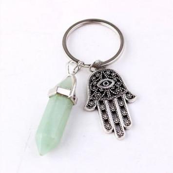 Брелок для ключей защитный с рукой Фатимы и камнем авантюрин