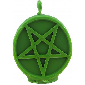 Свеча  зеленая перевернутая пентаграмма