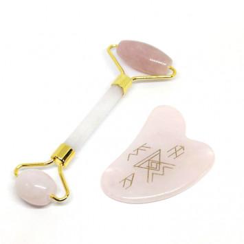 Скребок гуаша с роллером и рунами розовый кварц