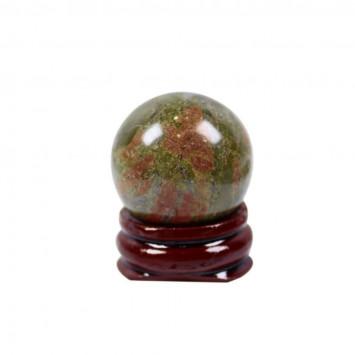 Натуральный шар  из унакит на подставке,диаметр 35 мм