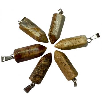Кулон -маятник Художественная яшма