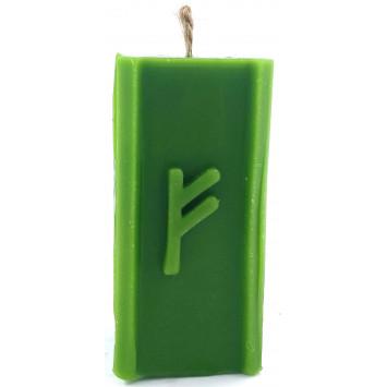 Свеча руническая, зеленая, руна Феху
