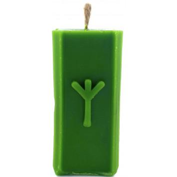 Свеча руническая Альгиз зеленая