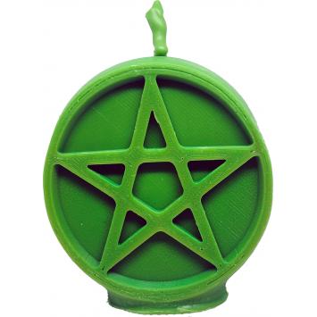 Свеча пентаграмма зеленая богатство