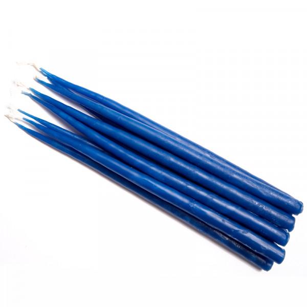 Свеча маканая восковая синяя, комплект 10 штук
