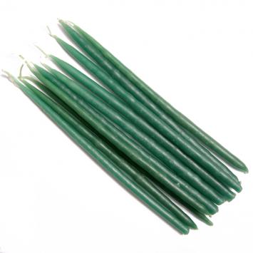 Свеча маканая восковая зеленая, комплект 10 штук