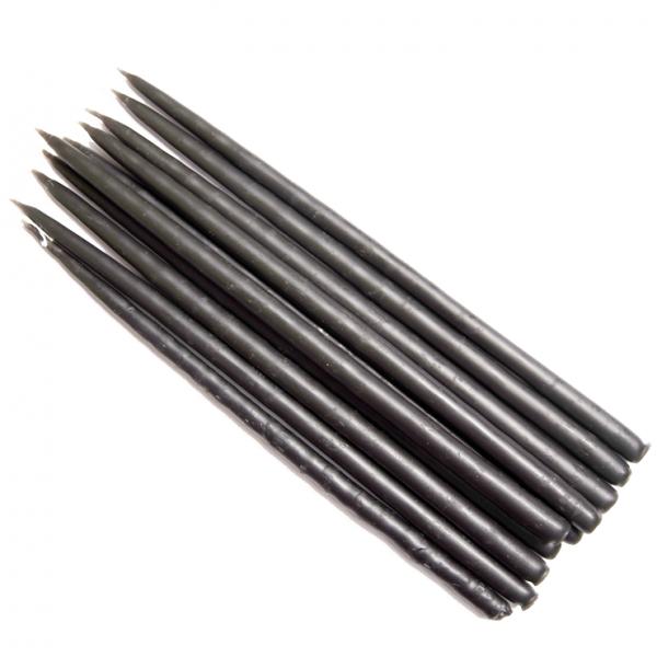 Свеча маканая восковая черная, комплект 10 штук
